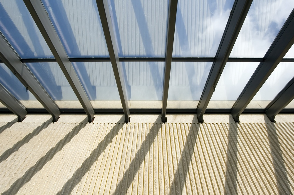 Skylight and ribbed concrete wall